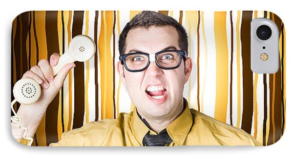 Frustrated Male Office Worker Yelling With Phone IPhone Case by Jorgo Photography - Wall Art Gallery