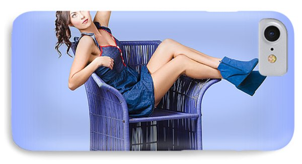 Full-length Portrait. Lovely Woman In Denim Dress IPhone Case by Jorgo Photography - Wall Art Gallery
