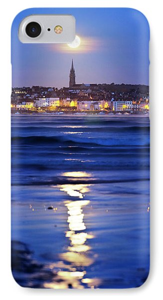 Full Moon Over Coastal Town IPhone Case by Laurent Laveder