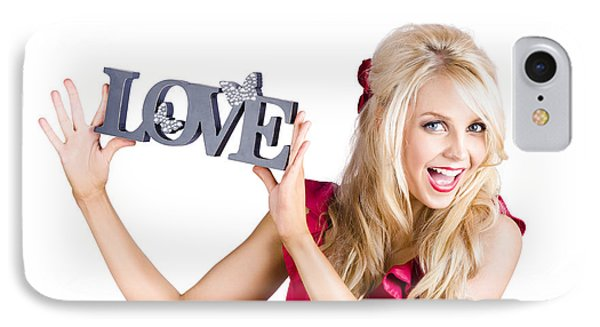 Fun Blonde Woman With Love Word Sign IPhone Case by Jorgo Photography - Wall Art Gallery