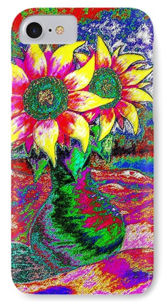 Funky Sunflowers IPhone Case by Annie Zeno