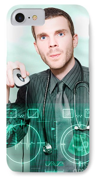 Futuristic Medicine Doctor Working With Interface IPhone Case by Jorgo Photography - Wall Art Gallery