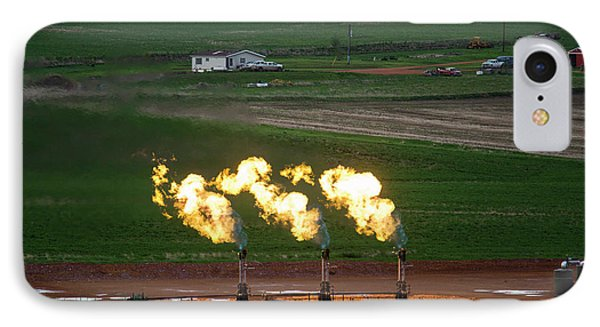 Gas Flares At An Oil Field IPhone Case