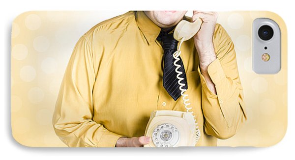 Geeky Businessman On Important Phone Call IPhone Case by Jorgo Photography - Wall Art Gallery