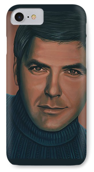 George Clooney Painting IPhone Case by Paul Meijering