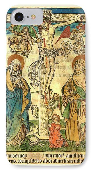 German 15th Century, Christ On The Cross With Angels IPhone Case by Litz Collection