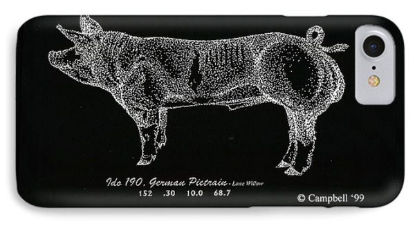 IPhone Case featuring the drawing German Pietrain Boar by Larry Campbell