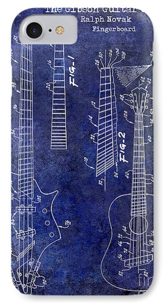 Gibson Guitar Patent Drawing Blue IPhone Case