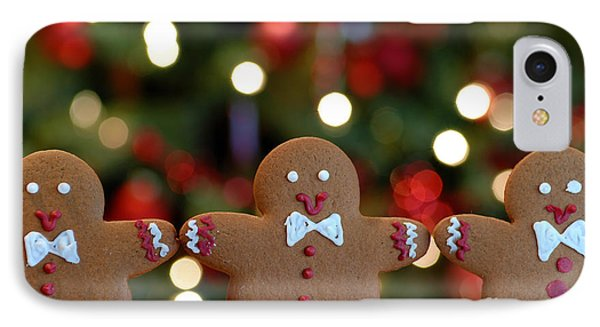 Gingerbread Men In A Line Phone Case by Amy Cicconi
