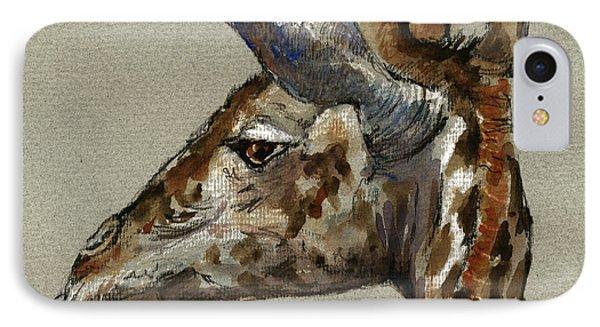 Giraffe Head Study IPhone Case by Juan  Bosco
