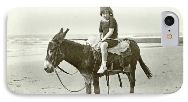 Girl On Donkey On The Beach North Sea, The Netherlands Or IPhone Case