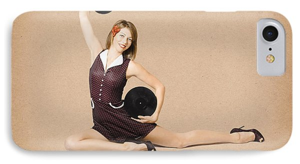 Glamorous Pinup Girl Holding Vinyl Lp Records IPhone Case by Jorgo Photography - Wall Art Gallery