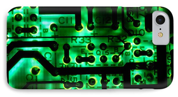 Glowing Green Circuit Board Phone Case by Amy Cicconi