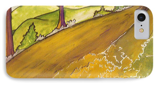 IPhone Case featuring the painting Golden Road by Iris Gelbart