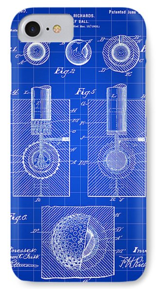 Golf Ball Patent 1902 - Blue IPhone Case by Stephen Younts