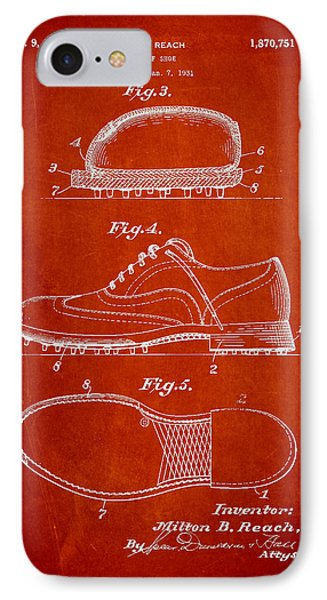 Golf Shoe Patent Drawing From 1931 Phone Case by Aged Pixel