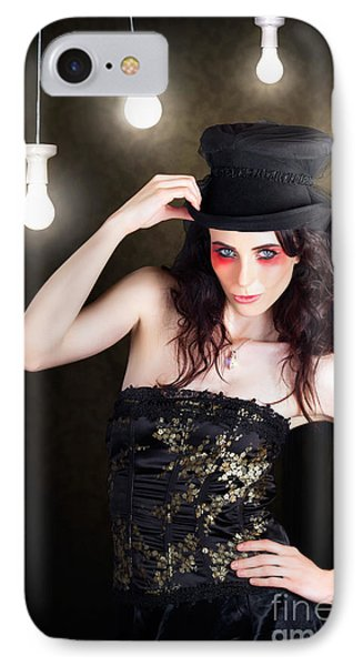Gorgeous Female Fashion Model Wearing Top Hat IPhone Case by Jorgo Photography - Wall Art Gallery