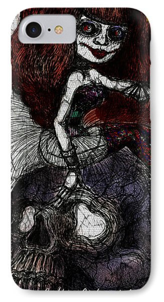 Gothic Girl And Skull IPhone Case by Akiko Okabe