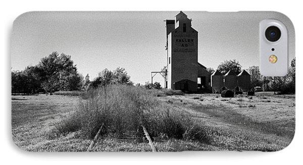 grain elevator and old train track landmark bengough Saskatchewan Canada IPhone Case by Joe Fox
