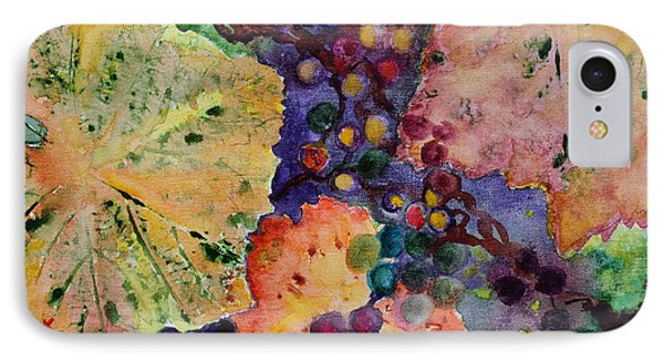 IPhone Case featuring the painting Grapes And Leaves by Karen Fleschler