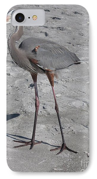 Great Blue Heron On The Beach IPhone Case by Christiane Schulze Art And Photography