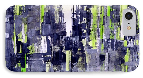 IPhone Case featuring the painting Green City by Katie Black