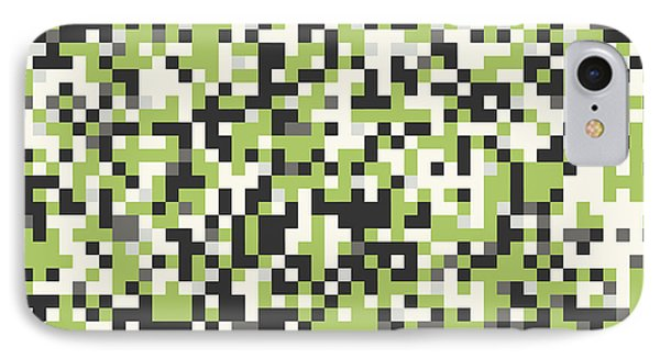 Green Pixel Art IPhone Case by Mike Taylor