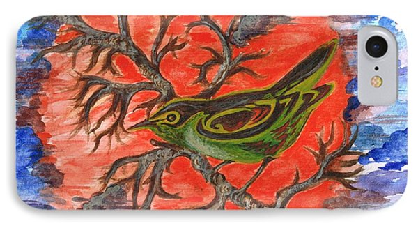 IPhone Case featuring the painting Green Warbler by Teresa White
