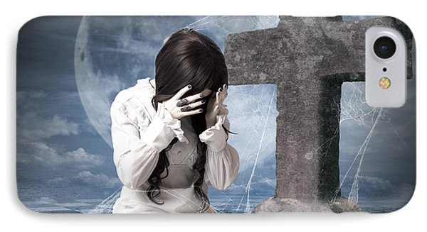 Grieving Gothic Girl Crying Next To Gravestone IPhone Case