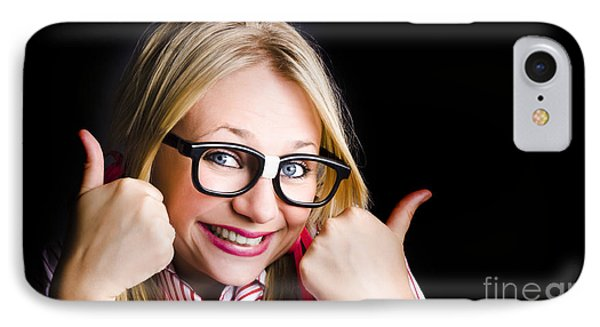 Grinning Geek With Thumbs Up To Cheeky Business IPhone Case by Jorgo Photography - Wall Art Gallery