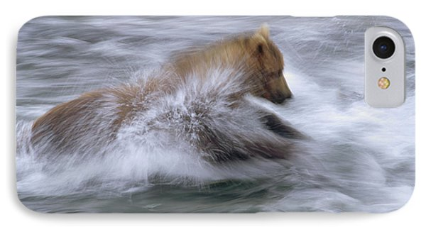 Grizzly Bear Chasing Fish Phone Case by Matthias Breiter
