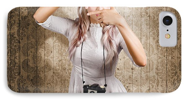 Grunge Girl With Retro Film Camera Concept Framing IPhone Case by Jorgo Photography - Wall Art Gallery