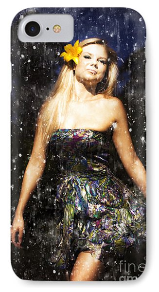 Grunge Portrait Of Sexy Woman In Rain IPhone Case by Jorgo Photography - Wall Art Gallery