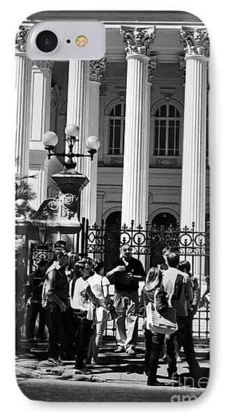 guided tour group outside the former national congress building Santiago Chile Phone Case by Joe Fox