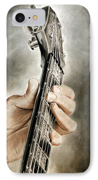 IPhone Case featuring the drawing Guitarist's Point Of View by Glenn Beasley