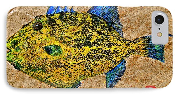 Gyotaku - Triggerfish - Queen Triggerfish IPhone Case by Jeffrey Canha