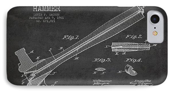 Hammer Patent Drawing From 1901 IPhone Case by Aged Pixel