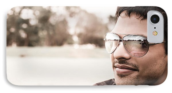 Handsome Hispanic Man Relaxing At An Outdoor Park IPhone Case by Jorgo Photography - Wall Art Gallery