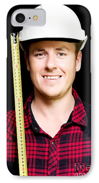Happy Builder With A Tape Measure IPhone Case by Jorgo Photography - Wall Art Gallery