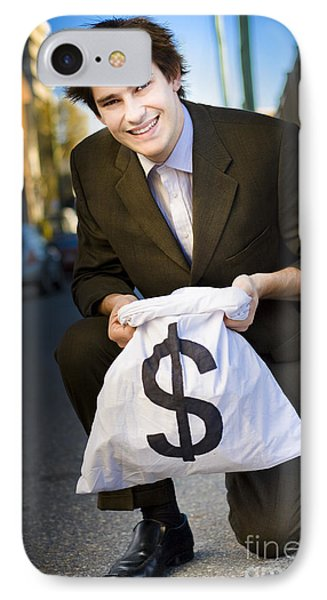 Happy Business Man Smiling With Money Bag IPhone Case