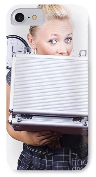 Happy Business Person With Briefcase Bonus IPhone Case