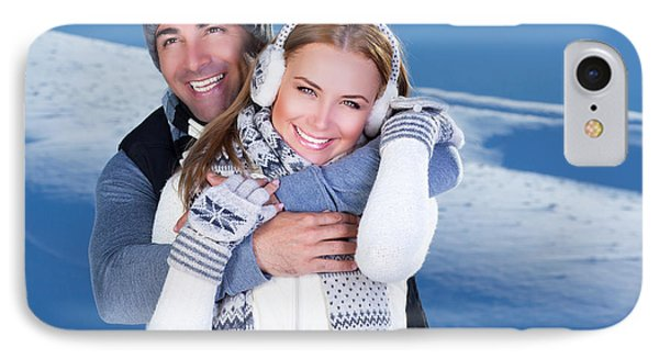 Happy Couple Playing Outdoor At Winter Mountains Phone Case by Anna Om