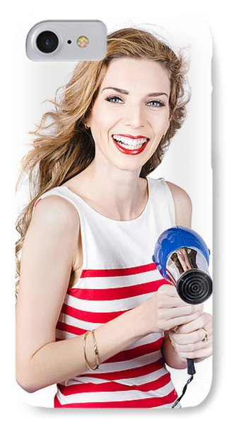 Happy Female Hairdresser Holding Hairdryer IPhone Case by Jorgo Photography - Wall Art Gallery
