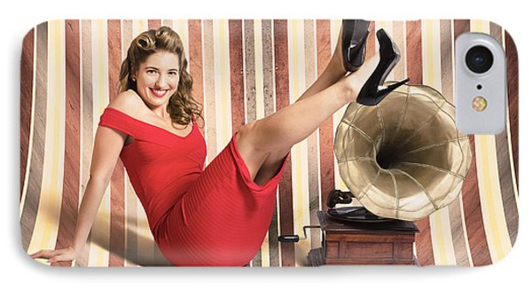 Happy Pin Up Lady. Retro Music And Entertainment IPhone Case