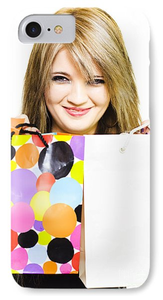 Happy Smiling Woman Holding Shopping Bags IPhone Case by Jorgo Photography - Wall Art Gallery