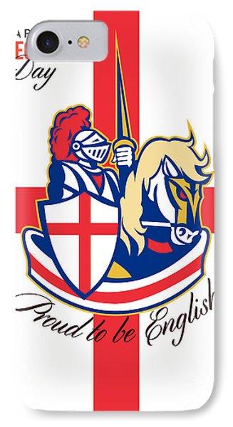 Happy St George Day Proud To Be English Retro Poster Phone Case by Aloysius Patrimonio
