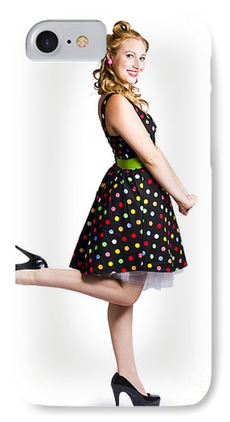 Happy Woman In Retro Dress IPhone Case by Jorgo Photography - Wall Art Gallery