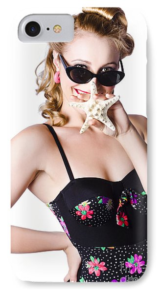 Happy Woman In Swimming Costume IPhone Case by Jorgo Photography - Wall Art Gallery