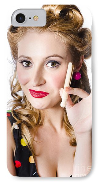 Happy Woman With Clothes Peg IPhone Case