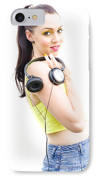 Happy Young Woman With Headphones IPhone Case by Jorgo Photography - Wall Art Gallery